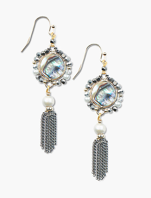 STONE AND METAL FRINGE EARRING,