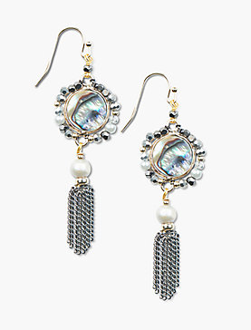 STONE AND METAL FRINGE EARRING