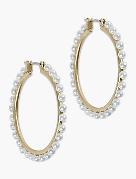 PEARL BEADED HOOP EARRING