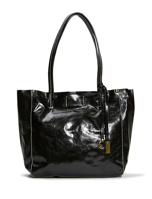 LEATHER TOTE, #001 BLACK