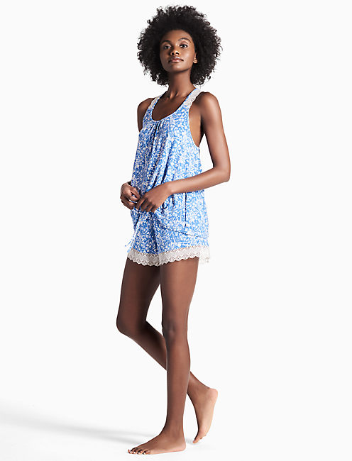 LACE TRIM SOFT KNIT PAJAMA SET, OPEN BLUE/TURQUOISE