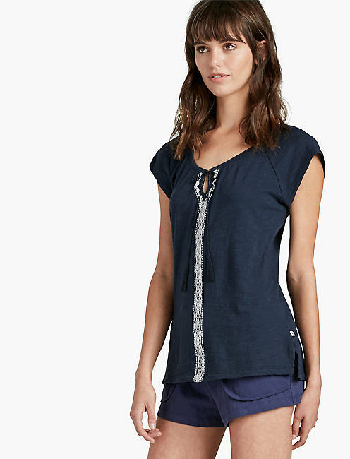 EMBROIDERED JERSEY TOP, AMERICAN NAVY