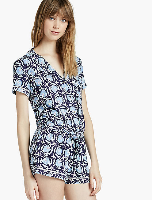 NOTCH COLLAR SHORTY PJ, DARK BLUE