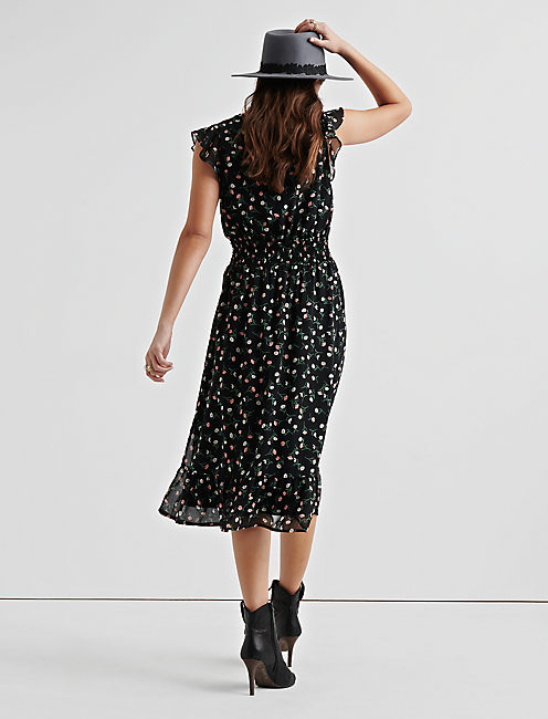 DITSY PRINTED MIDI DRESS, BLACK MULTI