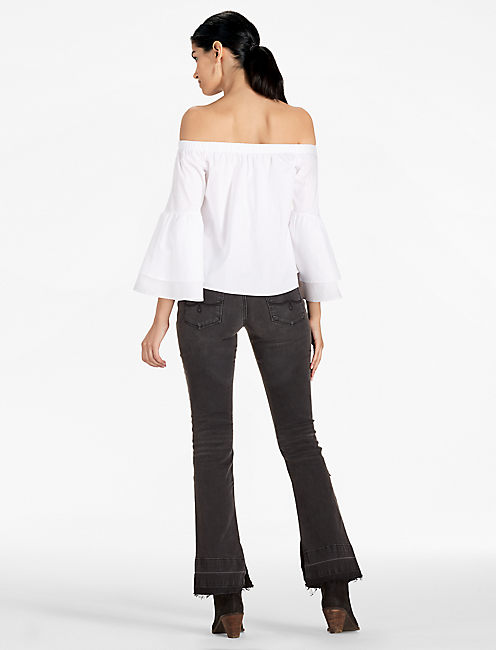 OFF THE SHOULDER BELL SLEEVE TOP, LUCKY WHITE