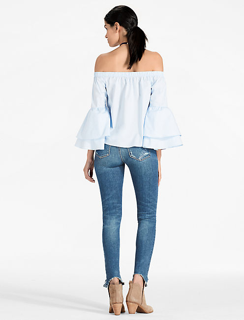 OFF THE SHOULDER BELL SLEEVE TOP, BLUE