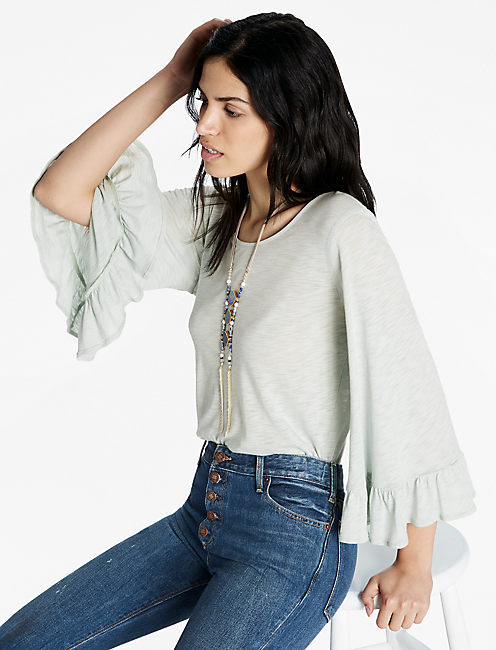 WIDE RUFFLE SLEEVE TOP,