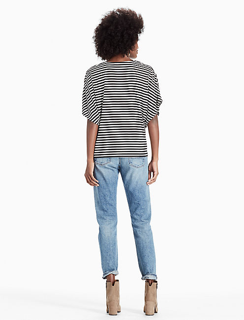 TWIST FRONT TOP, BLACK STRIPE
