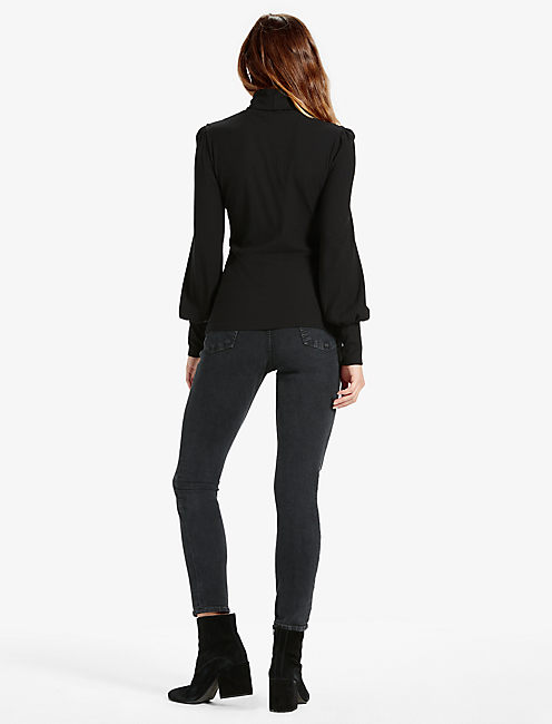 PUFF SLEEVE TURTLENECK TOP, 001 LUCKY BLACK