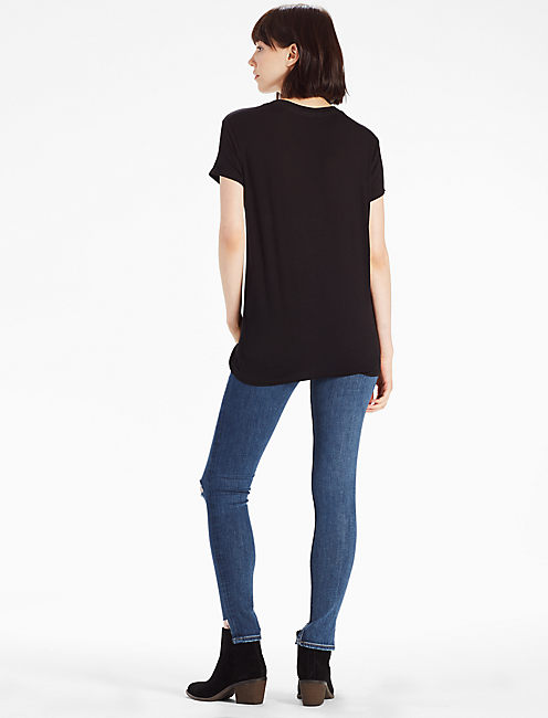 V NECK CUTOUT TEE, 001 LUCKY BLACK