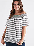 STRIPE SMOCK OFF SHOULDER, GREY MULTI