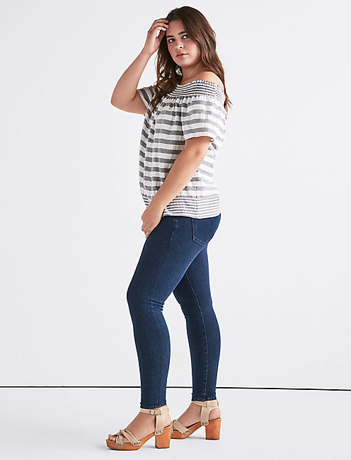 Lucky Stripe Smock Off Shoulder