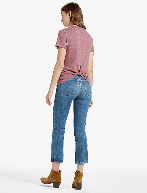 THE ANGELES TIE KNOT BACK BURNOUT TEE, BURGUNDY