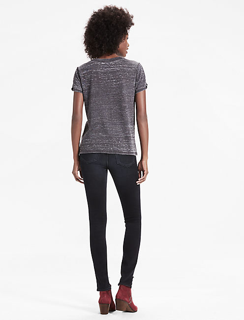 THE ANGELES TWIST SLEEVE BURNOUT TEE, 001 LUCKY BLACK