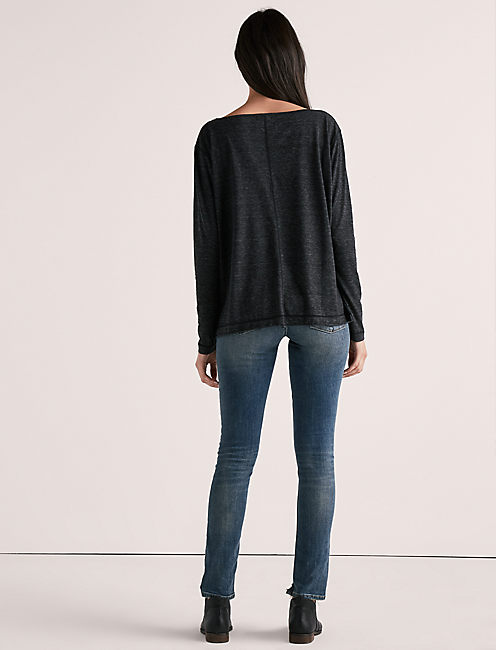 SOLID LONG SLEEVE TEE, 001 LUCKY BLACK