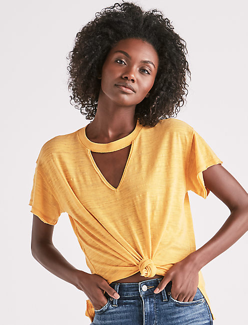 BURNOUT CHOKER TEE, YELLOW