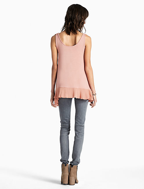 LACE UP TANK, SALMON