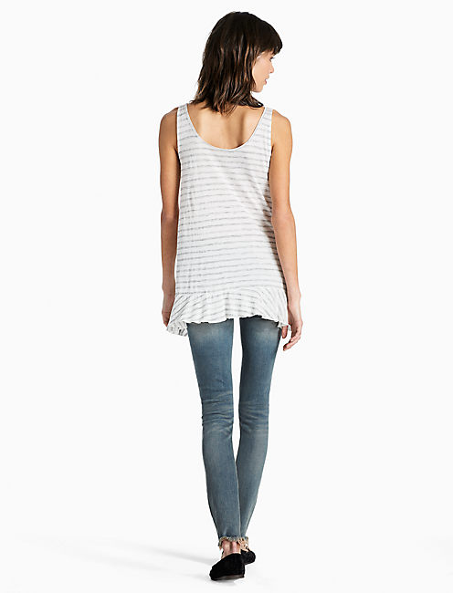 STRIPED LACE UP TANK, OPEN WHITE/NATURAL