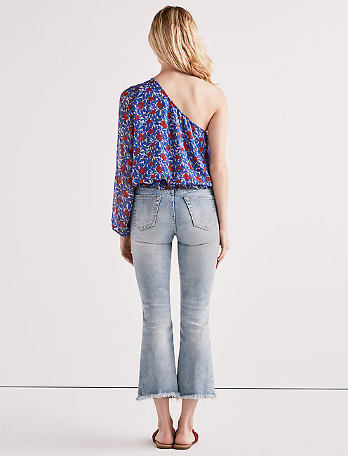 ONE SHOULDER FLORAL TOP, BLUE MULTI