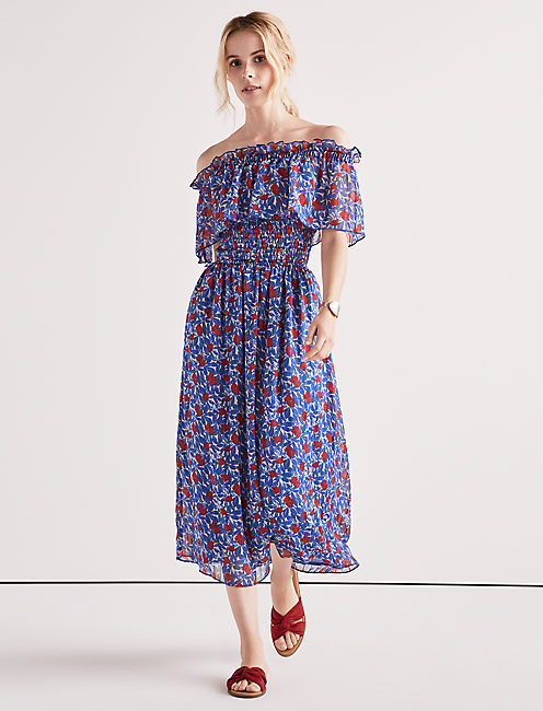 OFF SHOULDER FLORAL DRESS,