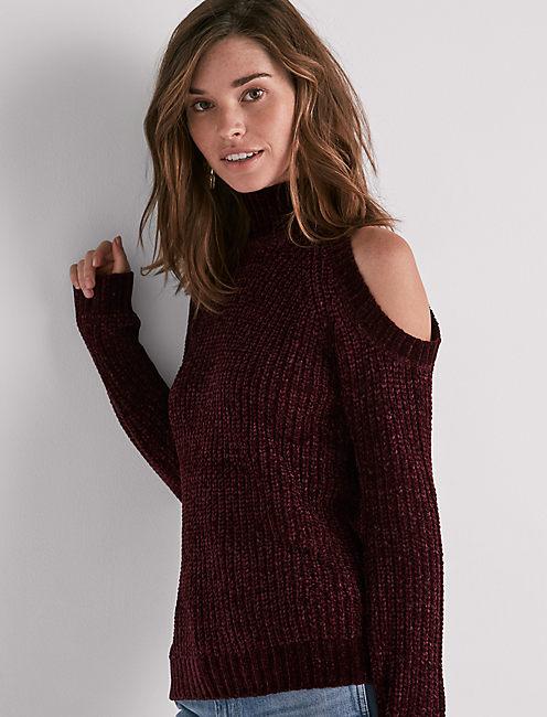 Cold Shoulder Chenille Sweater, MERLOT