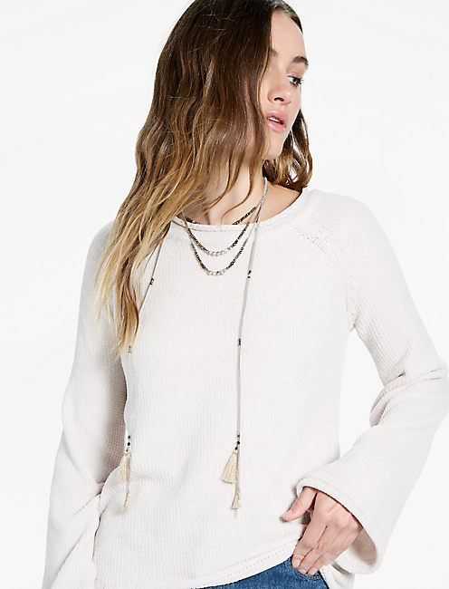 Long Sleeve Chenille Sweater,