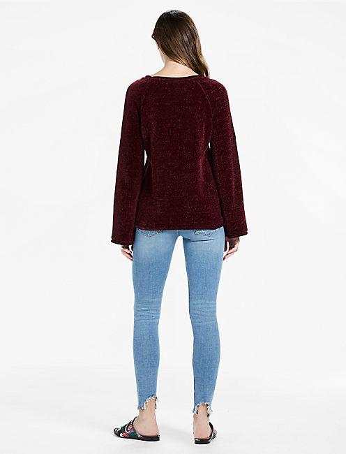Long Sleeve Chenille Sweater, MERLOT