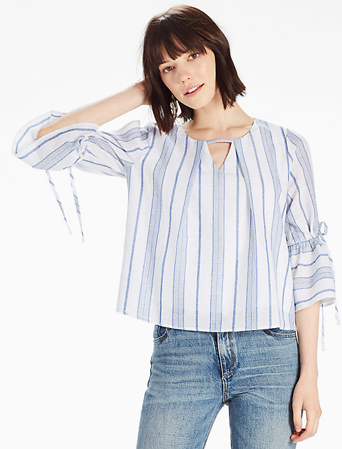 STRIPE BELL SLEEVE TOP, BLUE MULTI