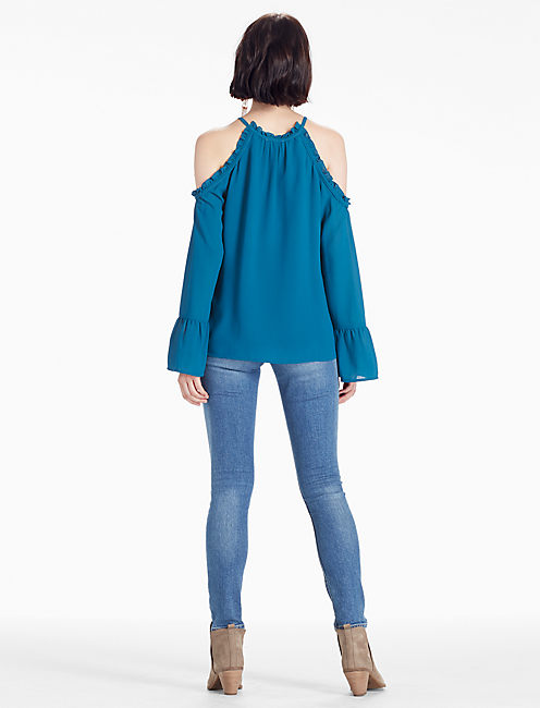 COLD SHOULDER TOP, BLUE