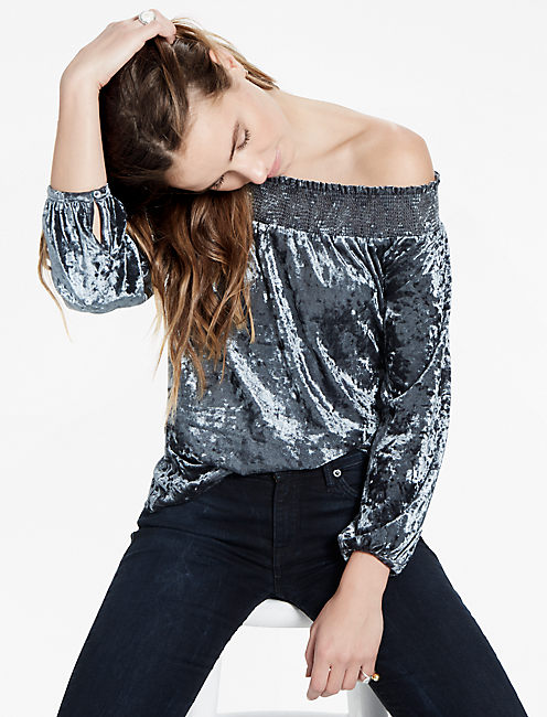 VELVET OFF SHOULDER TOP,