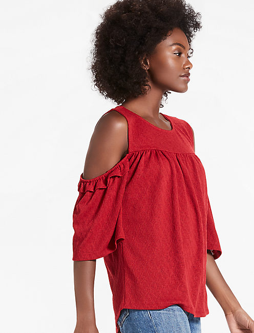 RUFFLE COLD SHOULDER TOP, 636 RED