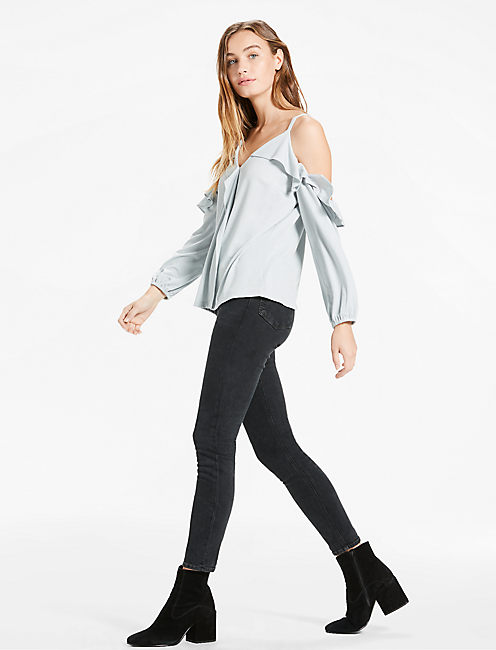 Lucky Ruffle Cold Shoulder Top