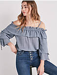 COLD SHOULDER CHAMBRAY TOP,