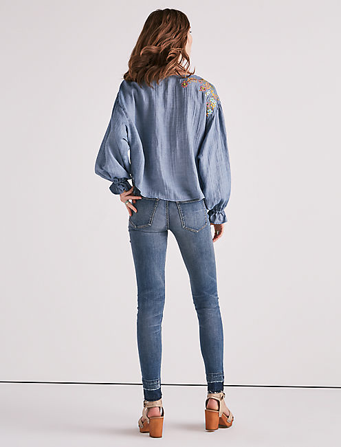 EMBROIDERED CHAMBRAY TOP,