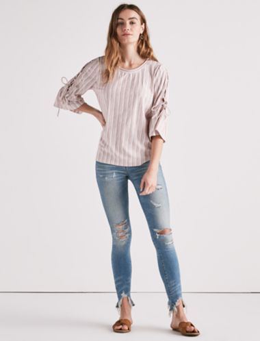 Lucky Lace-Up Bell Sleeve Top