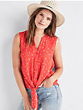 FLORAL TIE FRONT TOP, RED MULTI