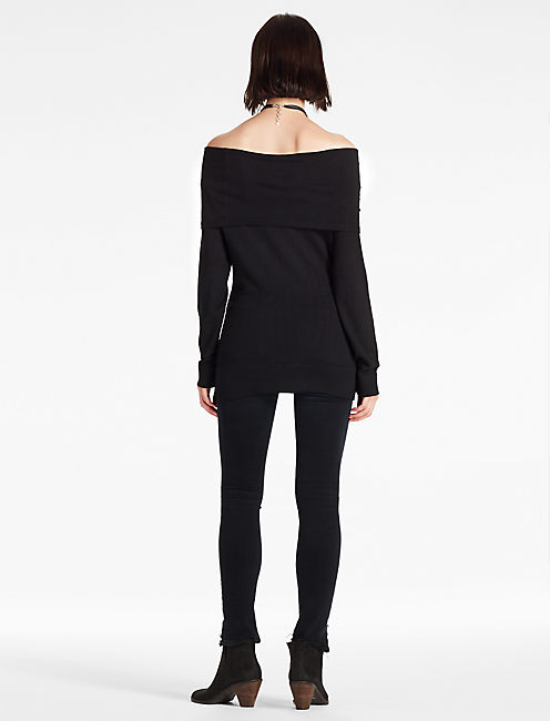 OFF THE SHOULDER FOLD OVER SWEATER, 001 LUCKY BLACK