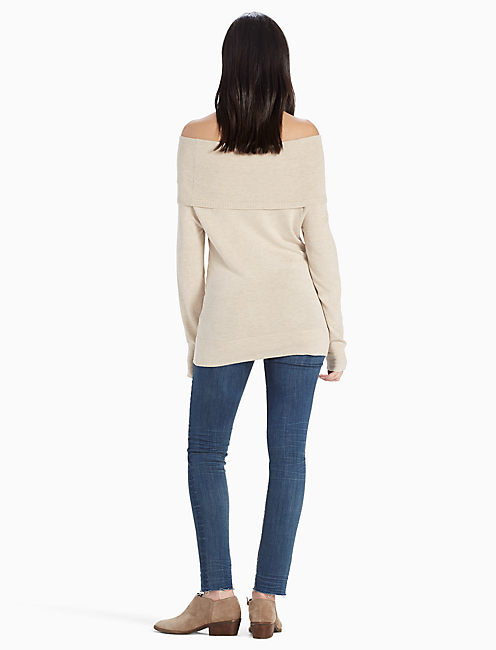 OFF THE SHOULDER FOLD OVER SWEATER, OATMEAL