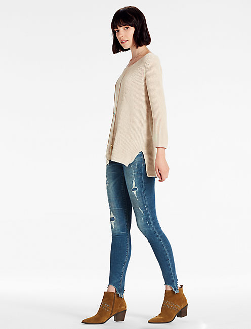 Lucky Scoop Neck Side Slit Sweater
