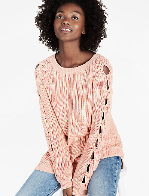 BRAID PULLOVER SWEATER, MISTY ROSE