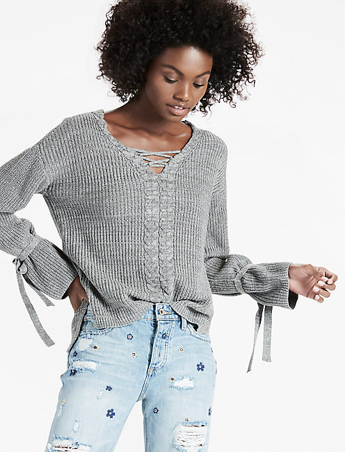 LACE UP TIE SLEEVE SWEATER,