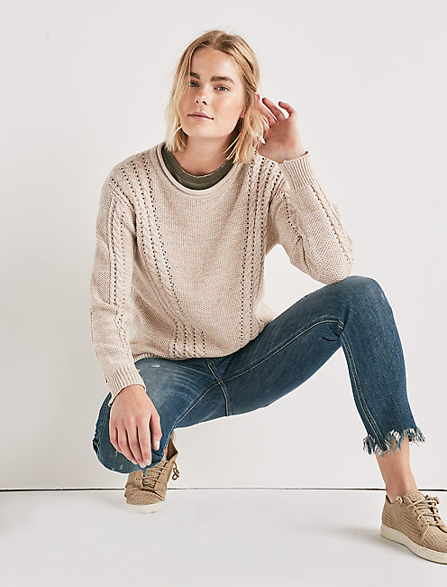 Womens Cable Knit Sweater Lucky Brand