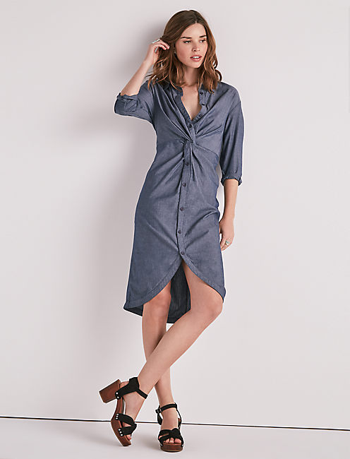 CHAMBRAY TWIST MIDI DRESS,