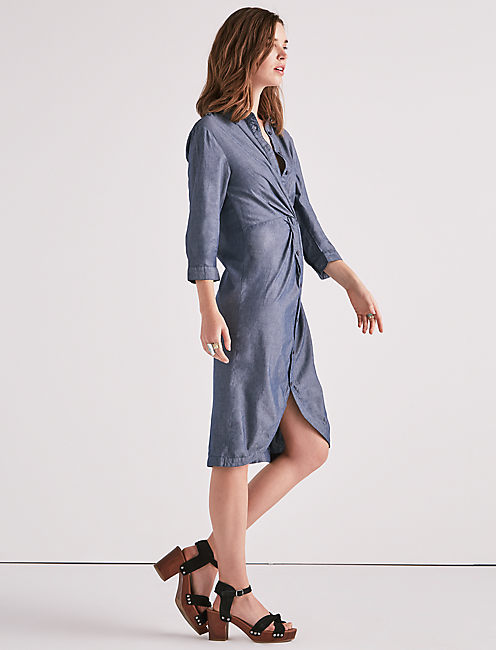 Lucky Chambray Twist Midi Dress