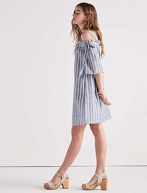 STRIPE COLD SHOULDER DRESS,