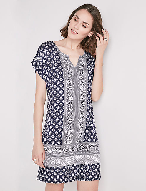 BORDER PRINT SHIRT DRESS,