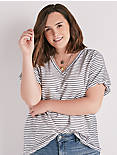 SHORT PUFF SLEEVE STRIPE TOP,