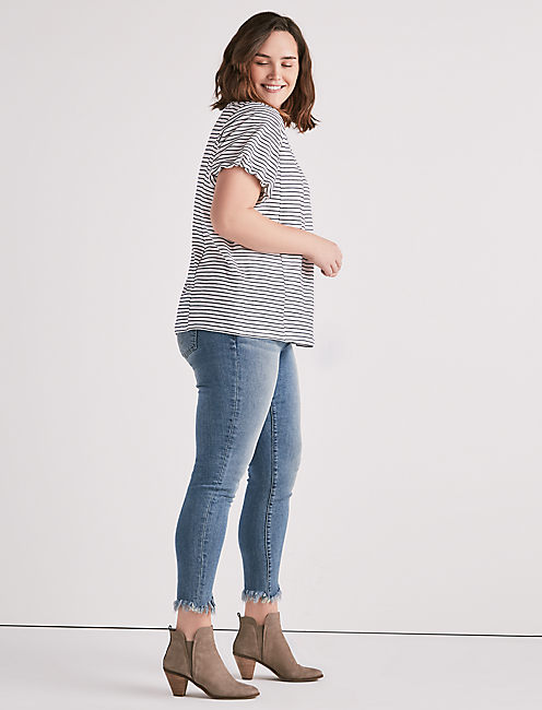Lucky Short Puff Sleeve Stripe Top