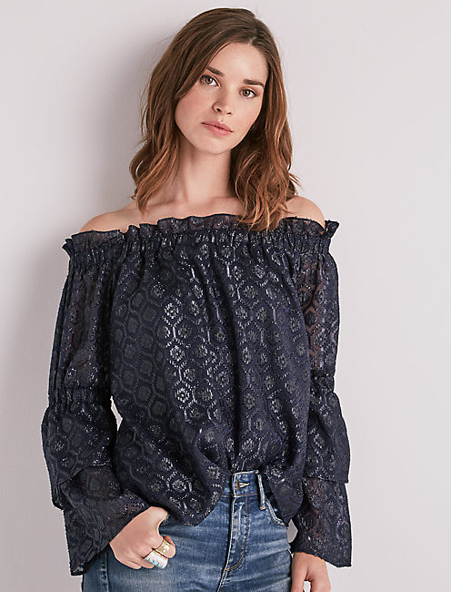 OFF SHOULDER METALLIC TOP,