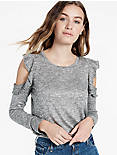 COLD SHOULDER RUFFLE TOP, GREY